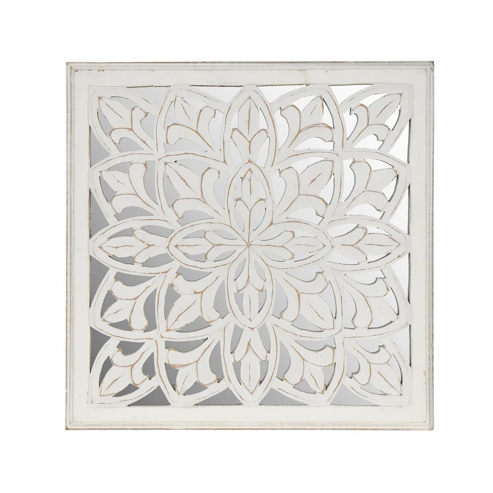 Meris White Medallion Mirror