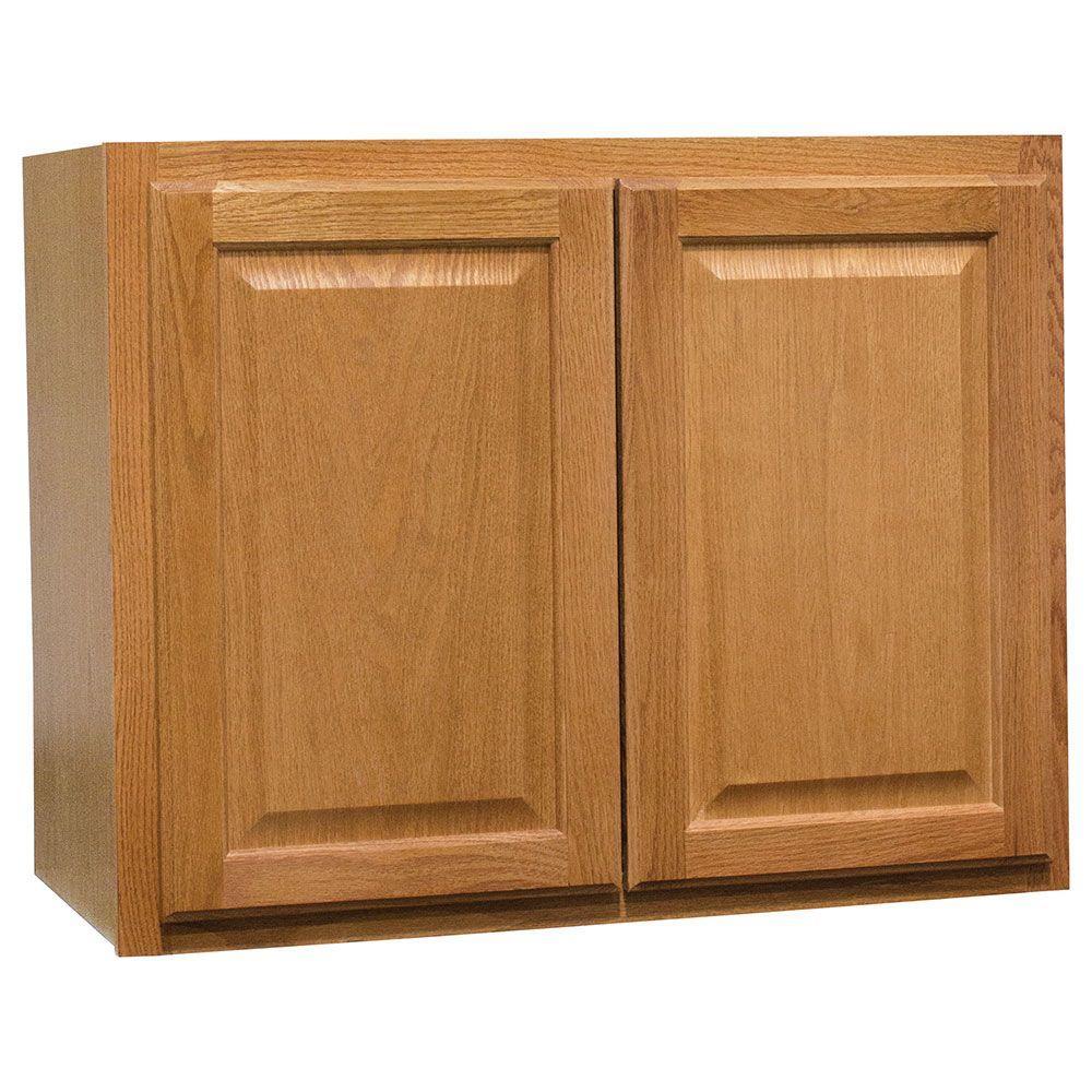 Hampton Assembled 30x23.5x15 in. Wall Bridge Kitchen Cabinet in Medium Oak