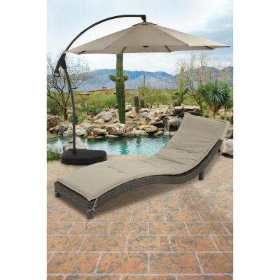 113 in. x 100 in. Tan Aluminum Patio Umbrella
