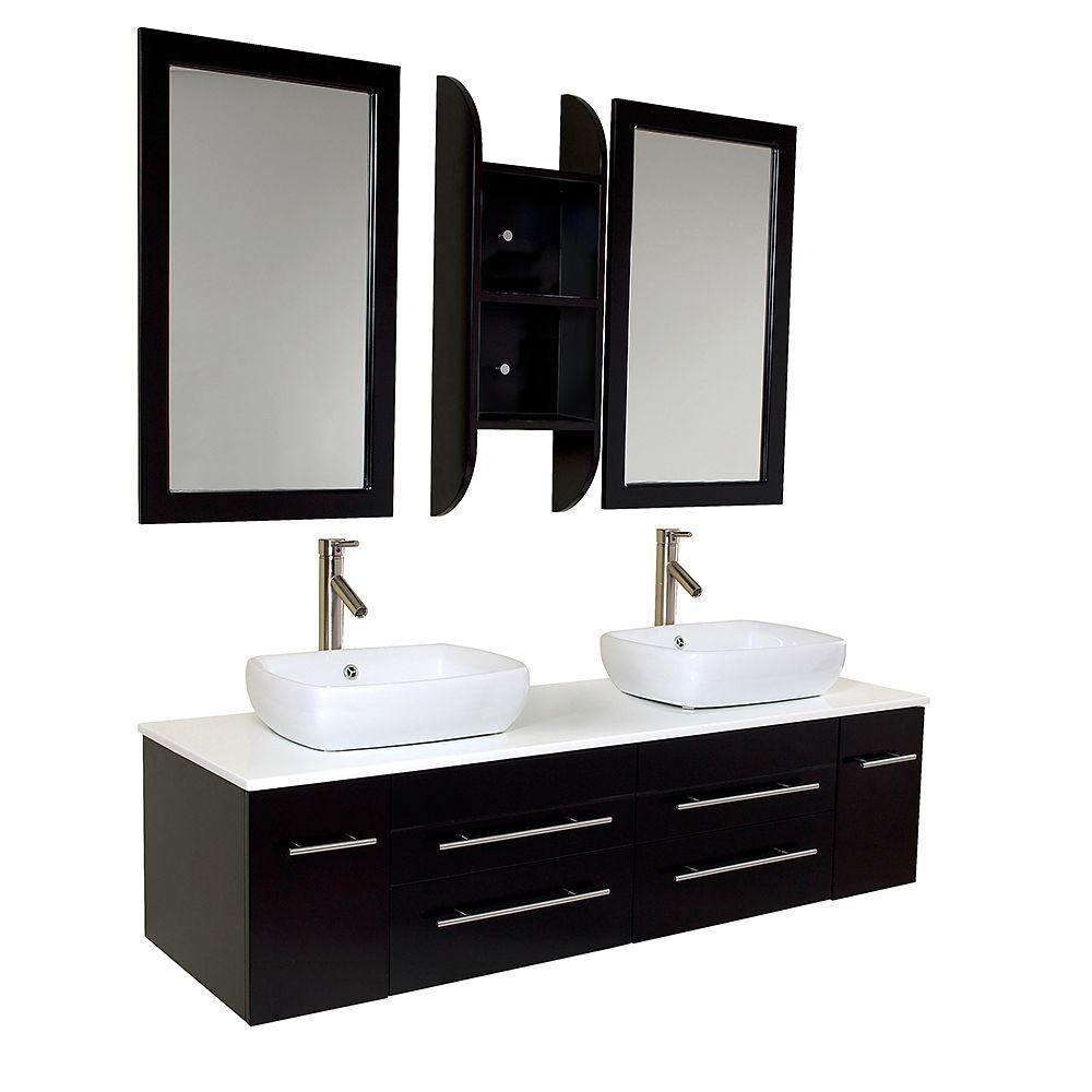 Double Vanity Marble Vanity Top White Basins Mirror