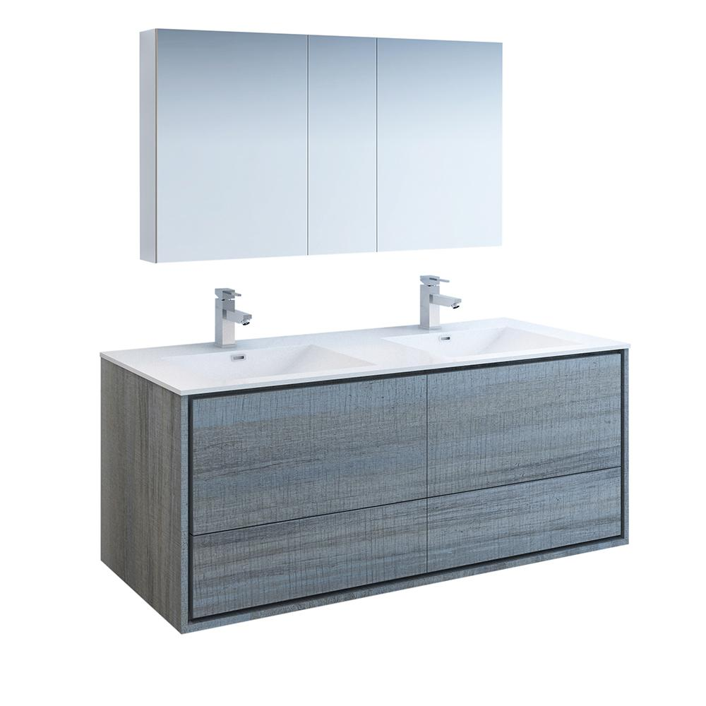 Fresca Catania 60 in. Modern Double Wall Hung Vanity in Ocean Gray with Vanity Top in White with White Basins,Medicine Cabinet