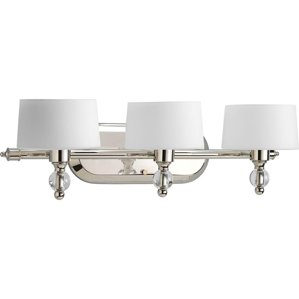 Progress Lighting Fortune Collection 3-Light Polished Nickel Bathroom Vanity Light with Glass Shades