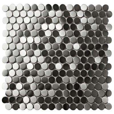 Alloy Penny Round 11-5/8 in. x 12-3/8 in. x 8 mm Stainless Steel Metal Over Porcelain Mosaic Tile