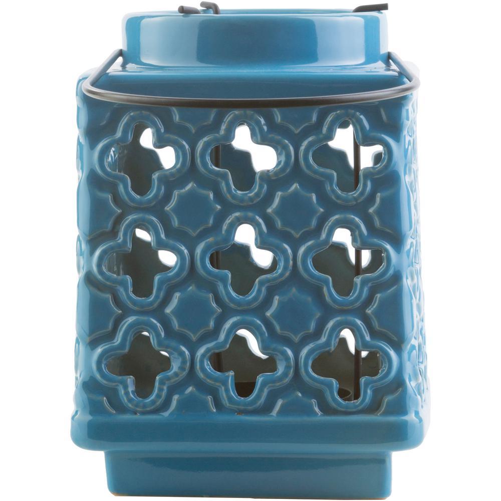 Obadiah 7.5 in. Bright Blue Ceramic Lantern