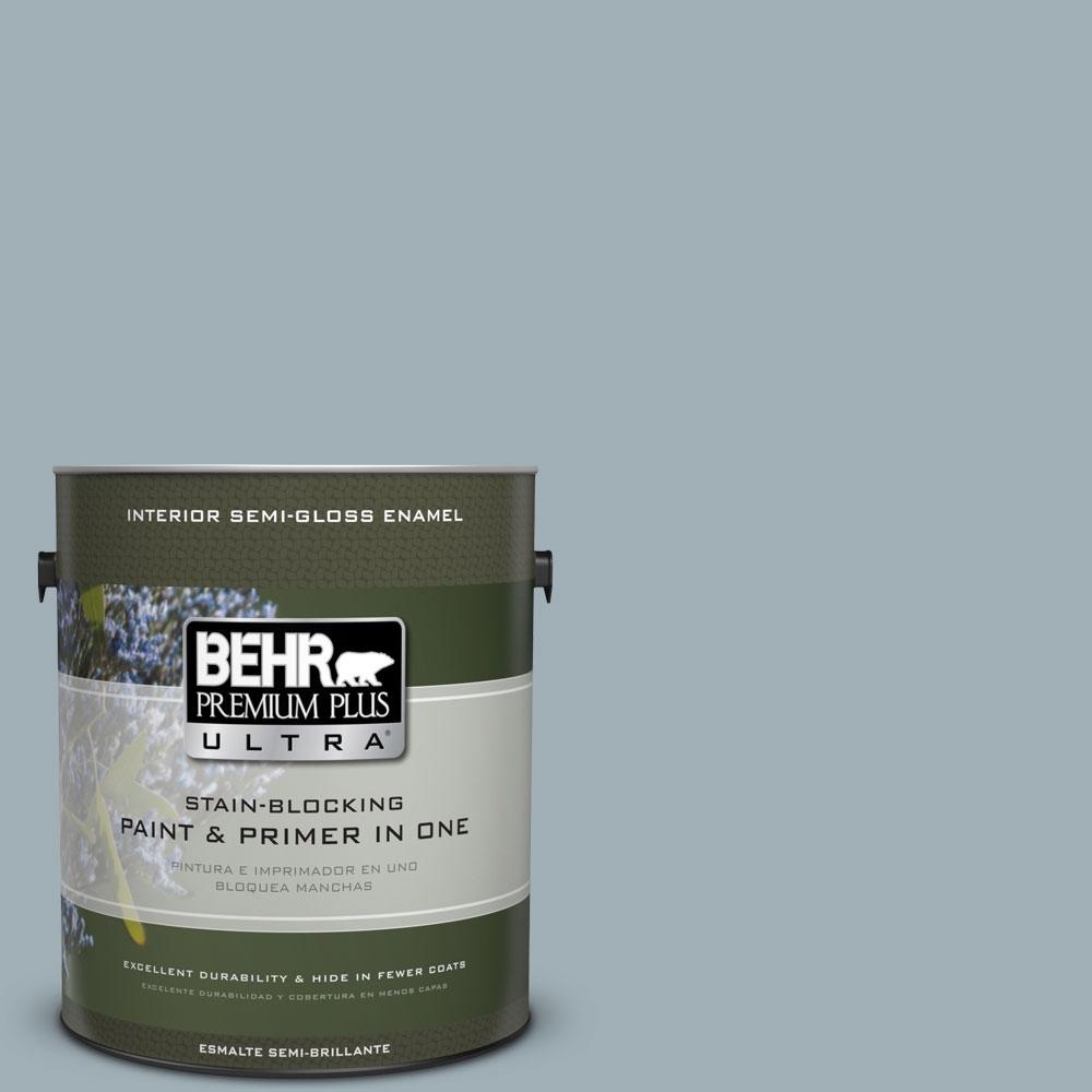 BEHR Premium Plus Ultra 1-gal. #ECC-22-2 Bay View Semi-Gloss Enamel Interior Paint