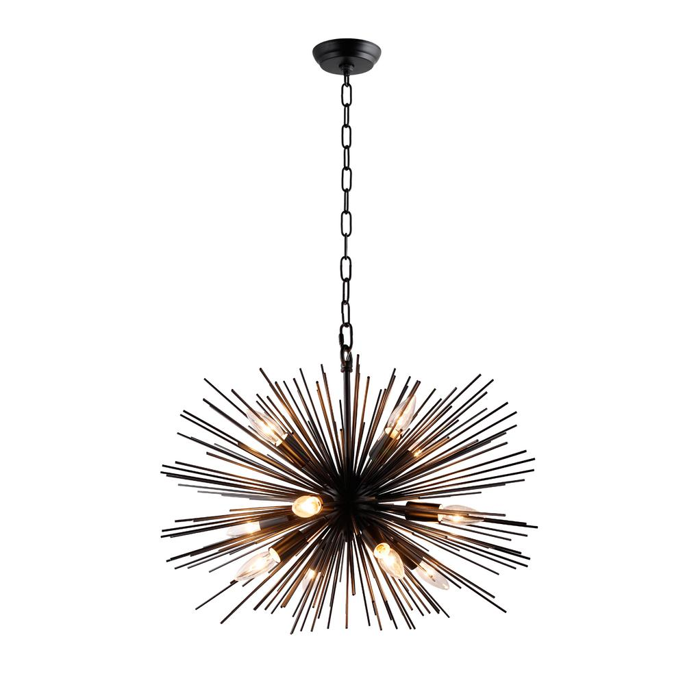Black Chandelier Fan: Y Decor 12-Light Black Sputnik Chandelier-LZ3349-12-B