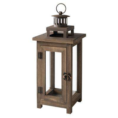 14 in. Wood and Metal Outdoor Patio Lantern