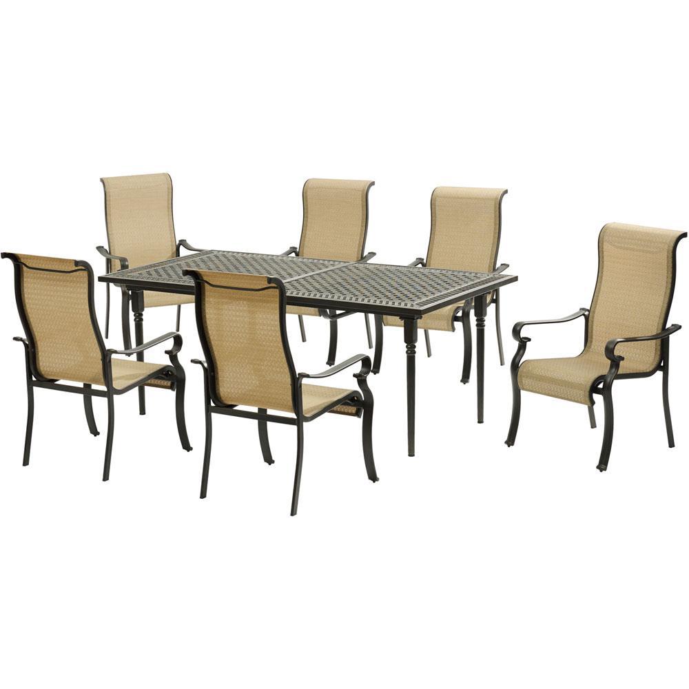 Brigantine 7-Piece Aluminum Outdoor Dining Set with an Expandable Cast-Top Aluminum Outdoor Dining Table