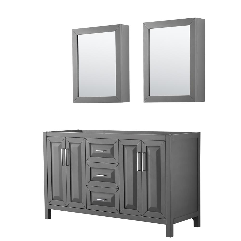 Wyndham Collection Daria 59 in. Double Bathroom Vanity Cabinet Only with Medicine Cabinets in Dark Gray