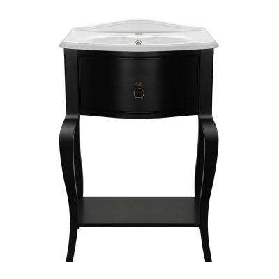 W Bath Vanity In Black With Vitreous China
