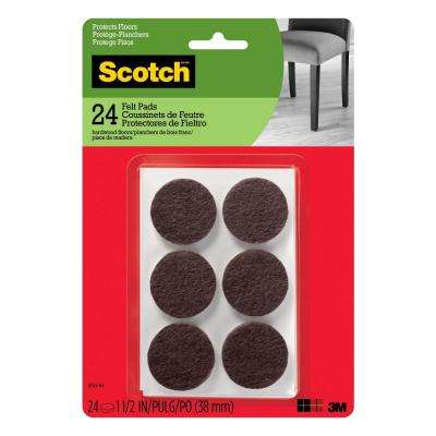 Scotch 1.5 in. Brown Round Surface Protection Felt Floor Pads (24-Pack)