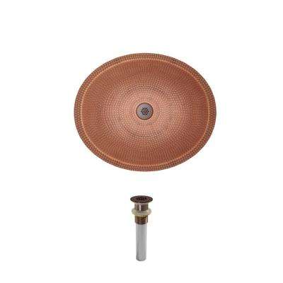 Dual-Mount Bathroom Sink in Copper with Grid Drain in Oil Rubbed Bronze