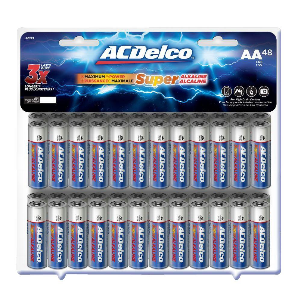 Ac Delco Battery >> Acdelco Super Alkaline Aa Battery 48 Pack Ac273 The Home Depot