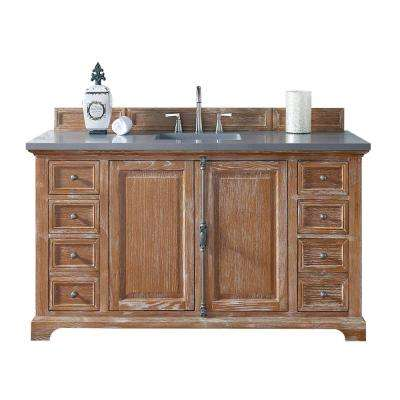 Providence 60 in. W Single Vanity in Driftwood with Quartz Vanity Top in Gray with White Basin