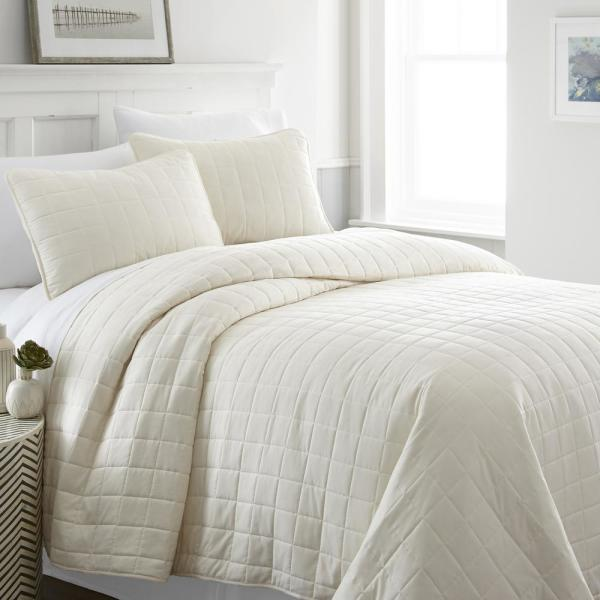 Becky Cameron Square Ivory Queen Performance Quilted Coverlet Set IEH-QLT-SQ-Q-IV