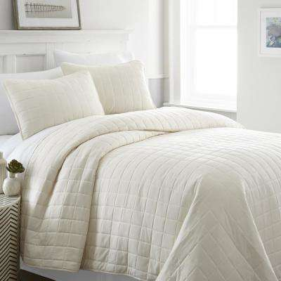 Square Ivory Twin Performance Quilted Coverlet Set