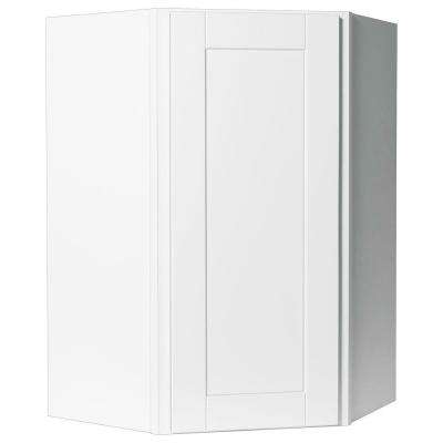 Shaker Assembled 24x36x12 in. Diagonal Corner Wall Kitchen Cabinet in Satin White