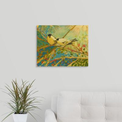 """20 in. x 16 in. """"Two Goldfinch Found"""" by  Jennifer Lommers Canvas Wall Art"""