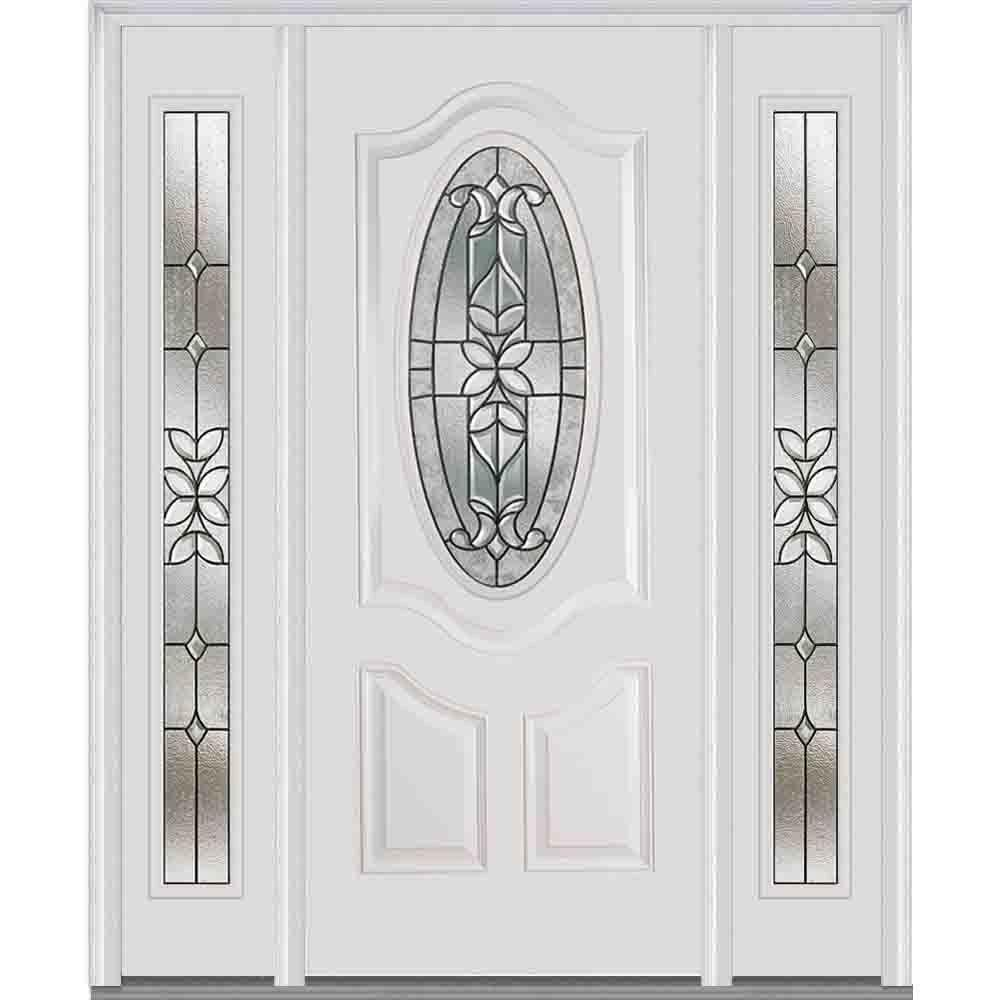 64 in. x 80 in. Cadence Left-Hand Oval 2-Panel Classic Painted