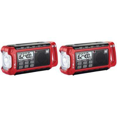 Emergency Crank Radio with Flashlight and Multiple Power Sources (2-Pack)