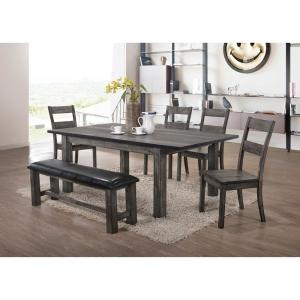 Drexel 6-Piece Dining Set with 4-Wooden Chairs and Bench