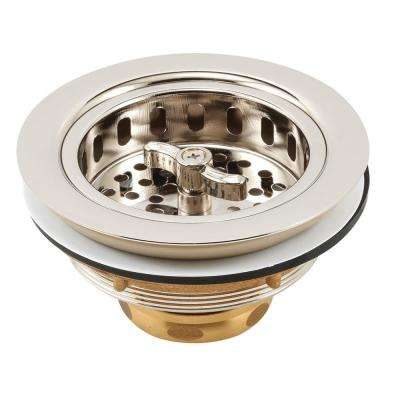 Basket Strainer Stainless Steel Spin and Lock Post 3-1/2 in. to 4 in. Polished Nickel with Putty