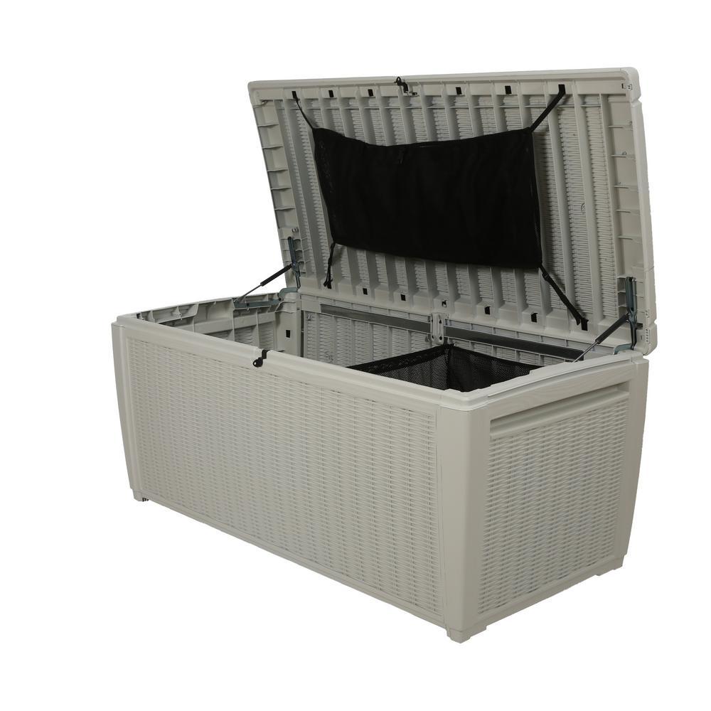 Sumatra 135 Gal. Pool Storage Deck Box, White