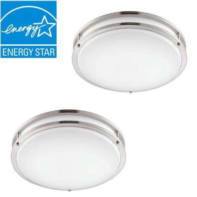 Low Profile LED 16 in. Brushed Nickel/White Ceiling Flushmount (2-Pack)