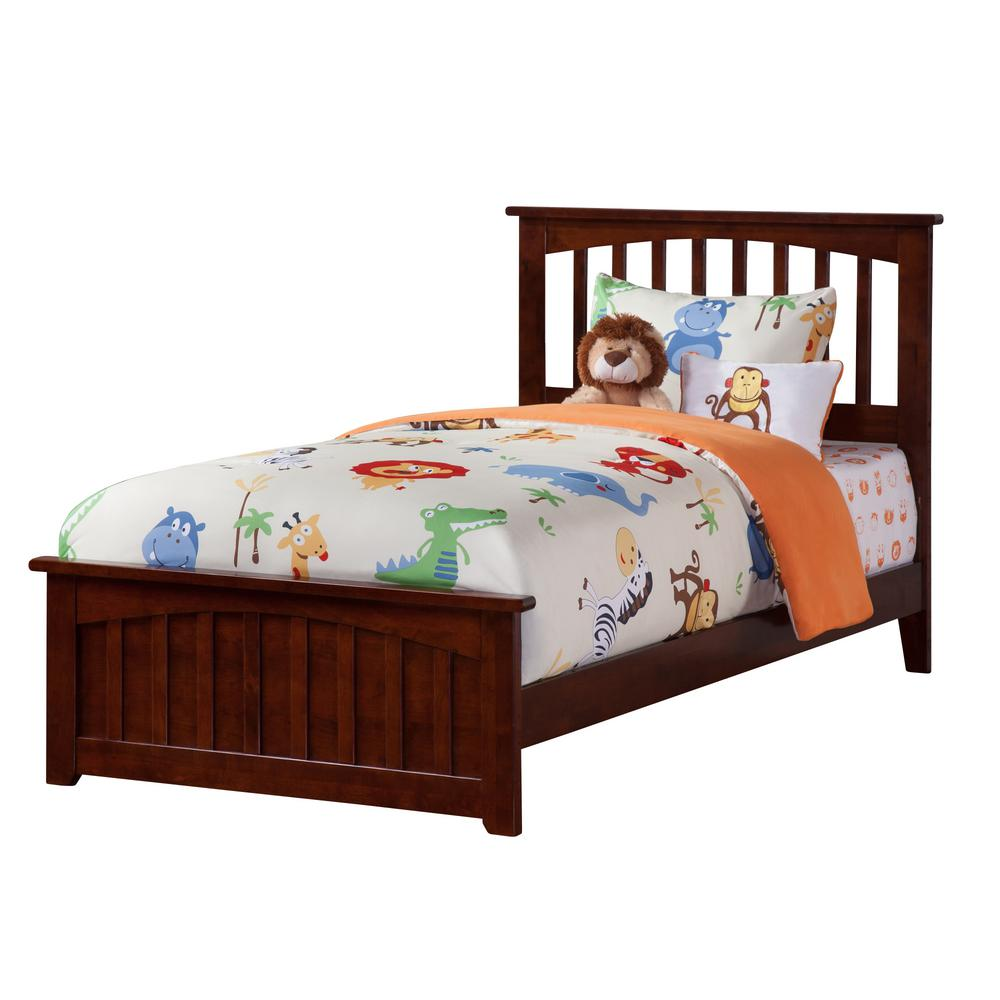 Atlantic Furniture Mission Walnut Twin XL Traditional Bed With Matching  Foot Board