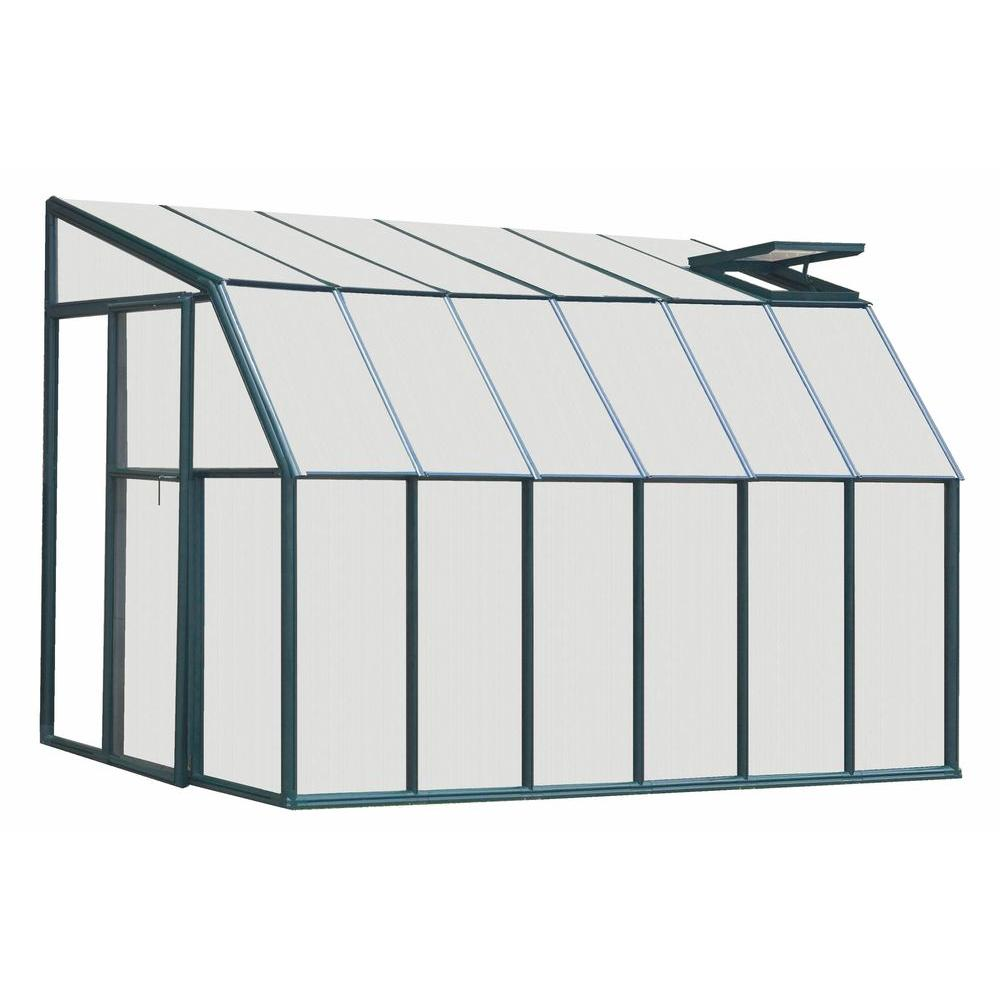 Rion Lean-To 6 ft. 6 in. x 16 ft. 8 in. Green Frame Dual Polycarbonate Panels Sunroom Greenhouse-DISCONTINUED