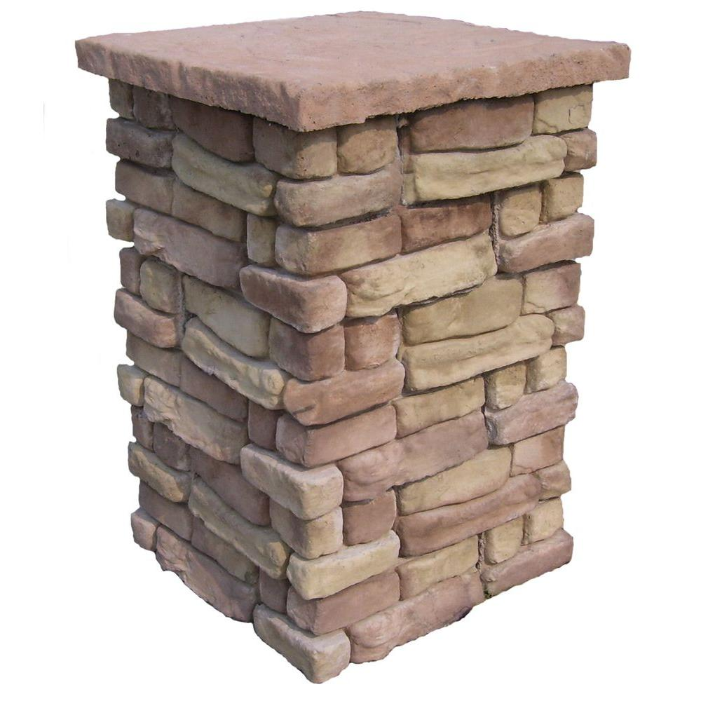 null Random Stone Brown 36 in. Outdoor Decorative Column