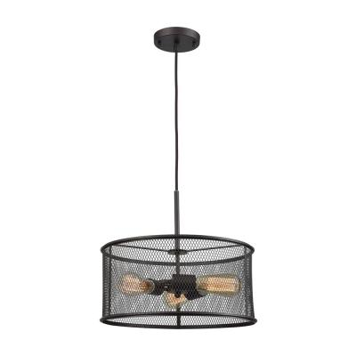 Williamsport 3-Light Oil Rubbed Bronze Chandelier With Metal Drum Shade