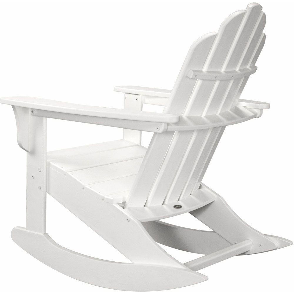 premium selection ce63d 5f753 Hanover White All-Weather Adirondack Rocking Patio Chair