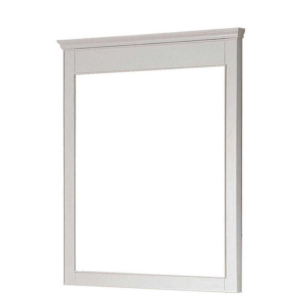 Windsor 30 in. W x 36 in. H Framed Rectangular Beveled Edge Bathroom Vanity Mirror in White