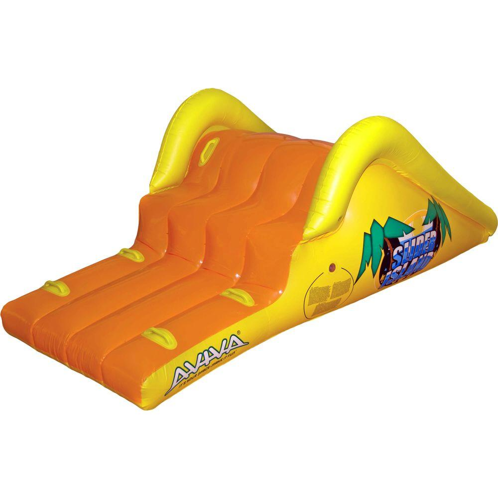 rave sports slick slider island inflatable pool slide 1019383 the home depot - Inflatable Pool Slide