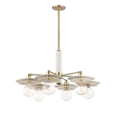Milla 6-Light Aged Brass Chandelier with White Shade