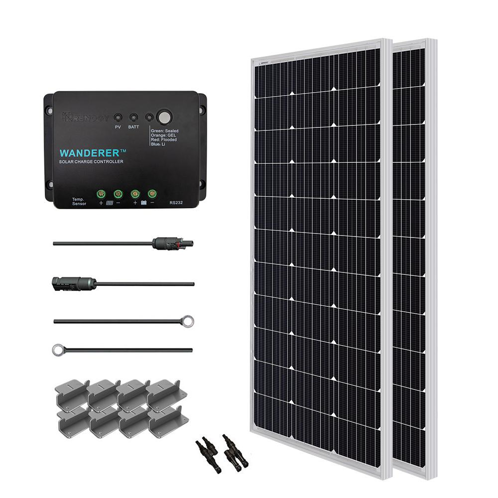 Renogy 200-Watt 12-Volt Monocrystalline Solar Starter Kit for Off-Grid  Solar System