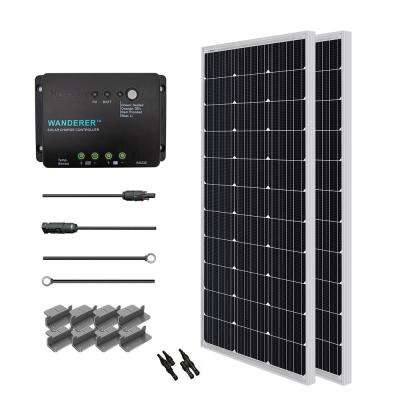 200-Watt 12-Volt Monocrystalline Solar Starter Kit for Off-Grid Solar System