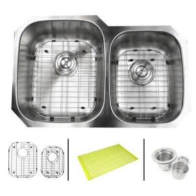 Undermount 16-Gauge Stainless Steel 32 in. x 20-3/4 in. x 9 in. 60/40 Offset Double Bowl Kitchen Sink Combo