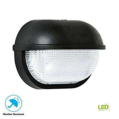 35-Watt Black Dusk-to-Dawn Outdoor Integrated LED Oval Wall Pack Light