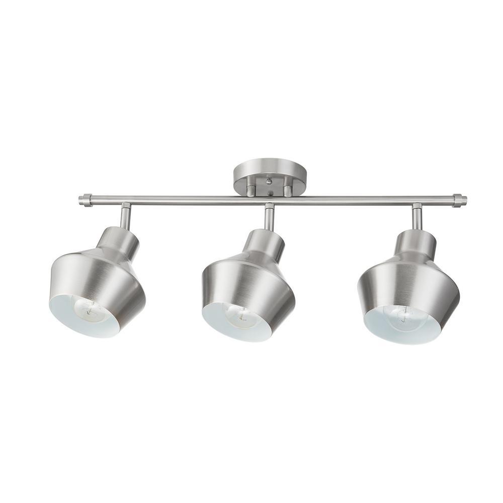 Asher 24.6 in. 3-Light Brushed Nickel Track Lighting Kit