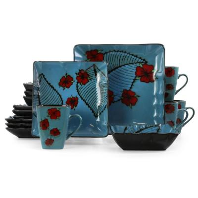 Aloha Tide 16-Piece Blue and Floral Square Stoneware Dinnerware Set (Service for 4)