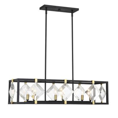 6-Light Bronze with Brass Accents Trestle Pendant