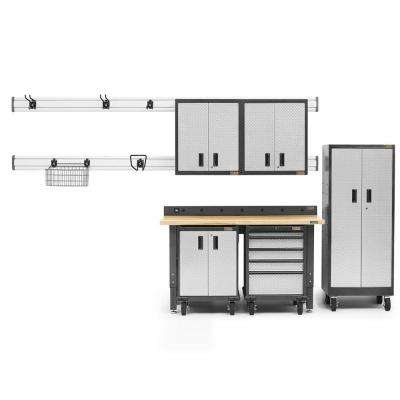 Premier Series 90 in. H x 102 in. W x 25 in. D Steel Garage Cabinet and Wall Storage System in Silver (14-Piece)