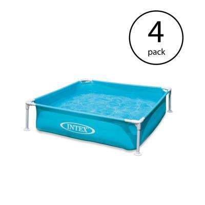 Mini Frame Kids Rectangle 48 in. x 48 in. x 12 in. Deep Beginner Kiddie Swimming Pool (4-Pack)