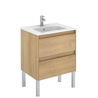 23.9 in. W x 18.1 in. D x 32.9 in. H Bathroom Vanity Unit in Nordic Oak with Vanity Top and Basin in White