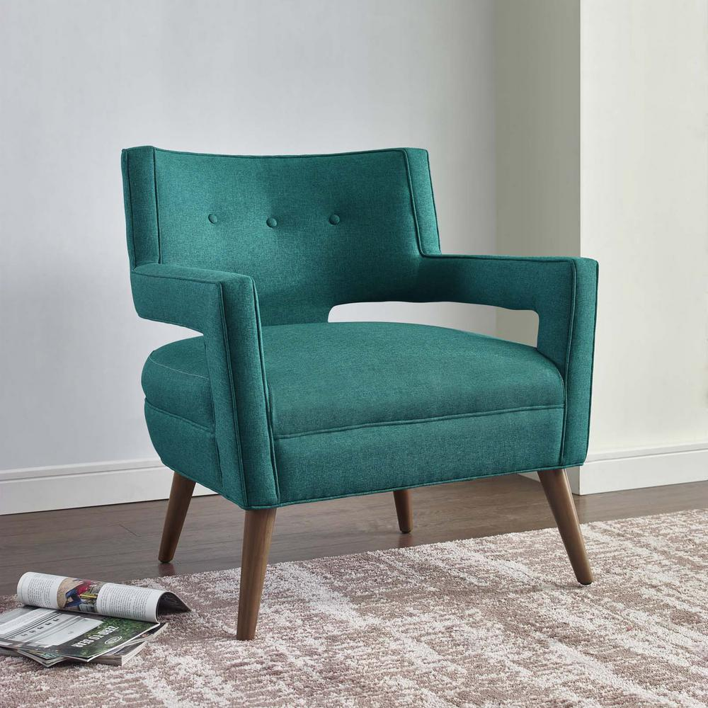Turquoise Living Room Furniture: MODWAY Sheer Teal Upholstered Fabric Armchair-EEI-2142-TEA
