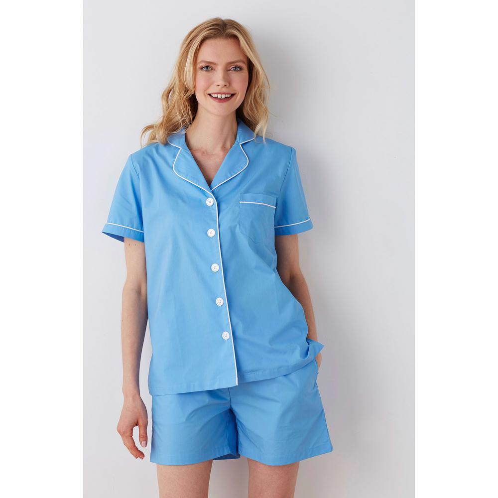 The Company Store Solid Poplin Cotton Women's Large Lake Blue Pajama Short Set