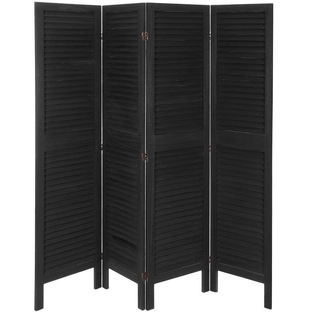 Oriental Furniture 6 Ft. Black Classic Venetian 4 Panel Room Divider