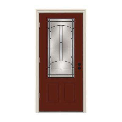 36 in. x 80 in. 3/4 Lite Idlewild Mesa Red w/ White Interior Steel Prehung Right-Hand Outswing Front Door w/Brickmould